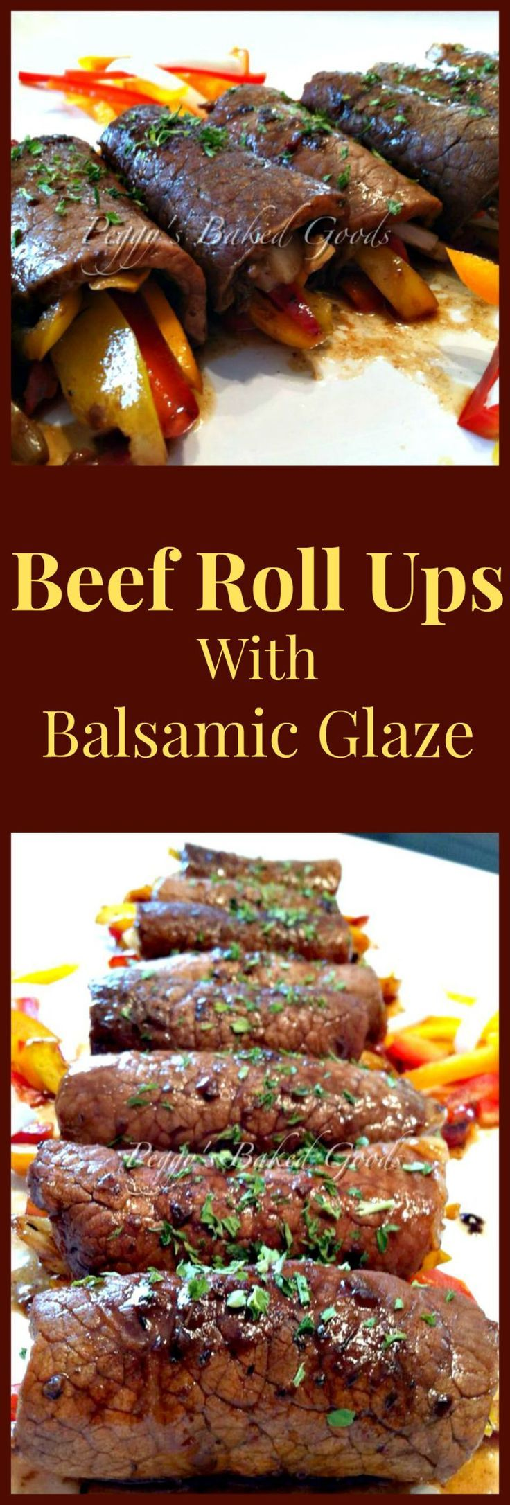 Beef Roll Ups . Delicious tender pieces of beef wrapped around cheese and veggies, and coated in a lovely Balsamic Glaze. A really quick and easy recipe too!