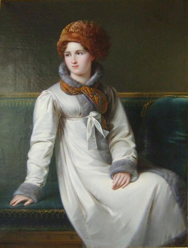 White pelisse with grey fur. Francois-Joseph Kinsoen (1770-1839), Portrait of a Russian Lady