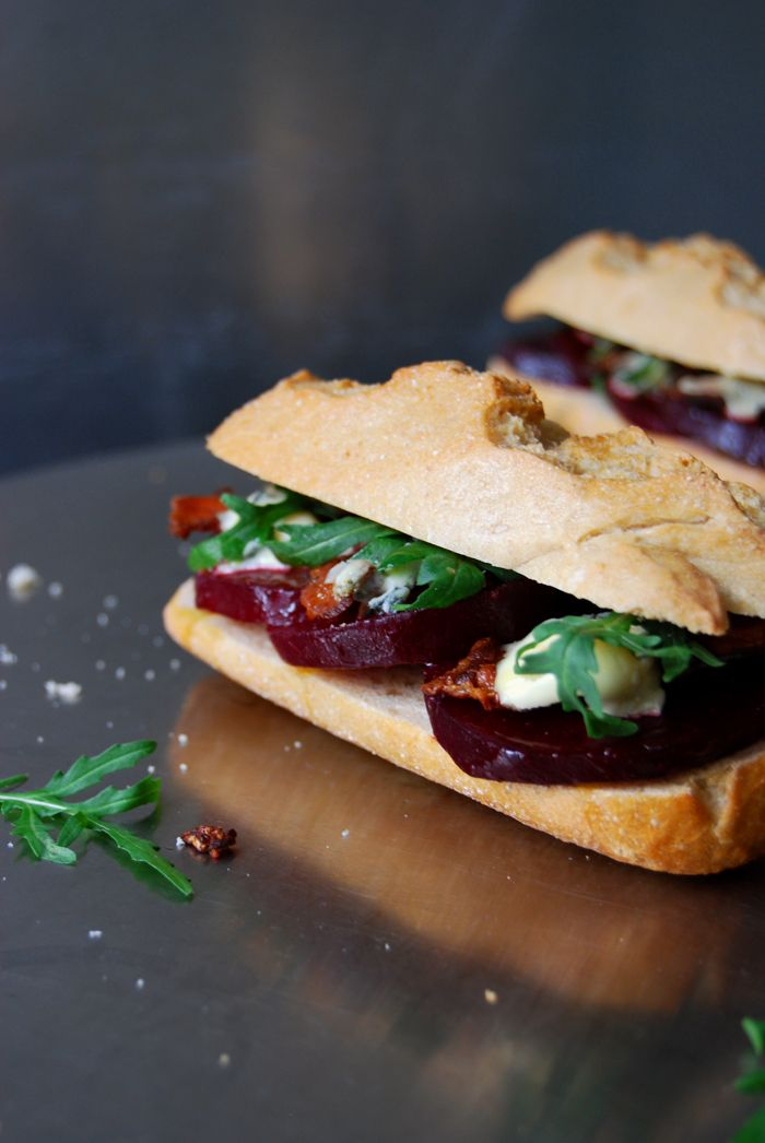 A grilled Beetroot, Bacon and Blue Cheese Sandwich ° eat in my kitchen