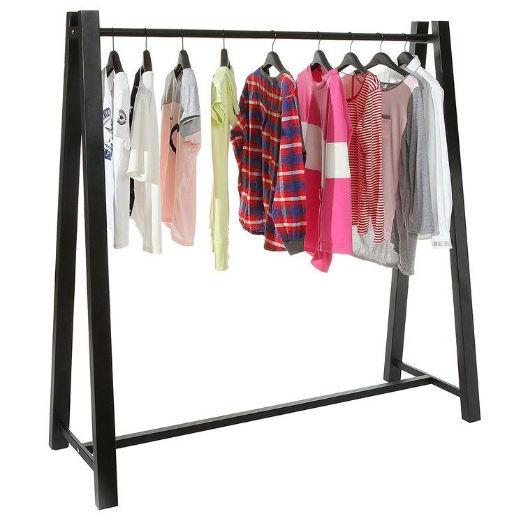 Modern Black Metal A Frame Clothing Hanger Storage Organizer / Freestanding Garment Clothes Rack -MyGift  Business Industrial Retail Display Racks