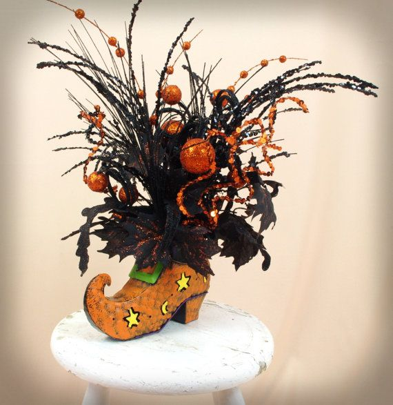 Halloween Centerpiece, Witch Boot Arrangement, Halloween Decoration - halloween centerpiece