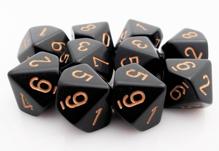 Opaque Dice (Black Gold) | 10 X D10 Dice Set