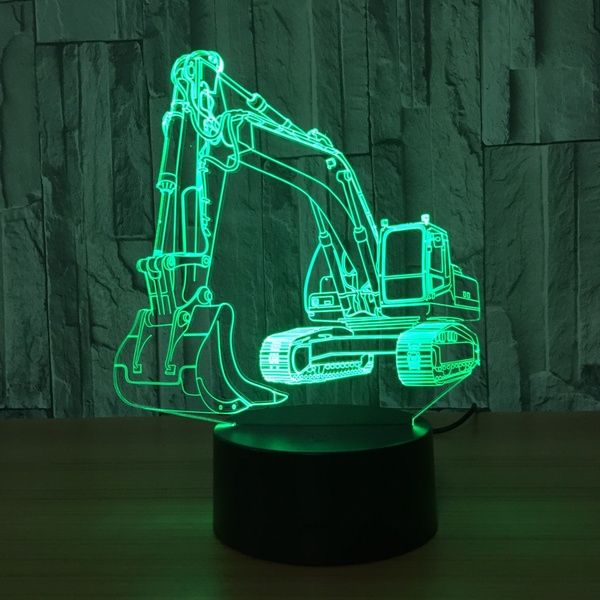 Excavator 7 Color Lamp 3d Visual Led Night Lights For Kids Touch Usb Table Lampara Lampe Baby Sleeping Nightlight Motion Light Wish In 2020 3d Illusion Lamp Night Light Lamp Motion Lights