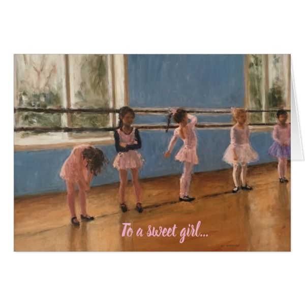 Impressionist Painting Little Girl Ballet Dancers Card #cards #birthday #happybirthday