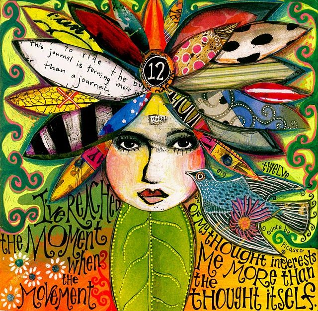 """Teesha Moore - I'd like to do this in my art journal with all the """"stuff"""" in my head on the petals."""