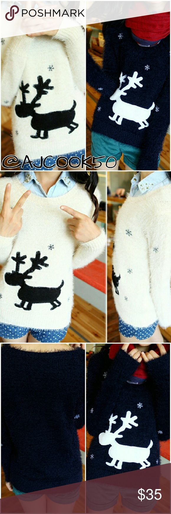 """🎉HP🎉Reindeer fuzzy holiday sweater Get the Taylor Swift look with this super cute fuzzy knit pullover sweater that is a must have for the holidays! It will keep you warm while still looking chic and spreading your holiday day cheer. It features a reindeer and snowflake print. One size fits: XS - M it has spandex material so stretches or can fit loose. Approx measurements  Bust: 37"""" Shoulder: 14"""" Sleeve: 21"""" Length: 24"""" Sweaters Crew & Scoop Necks"""