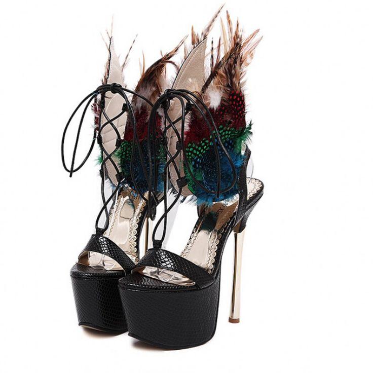 Новые женские сексуальные высокие каблуки высокой платформе пера павлина сандалии выдолбите вне знаменитости ботинки размер купить на AliExpress