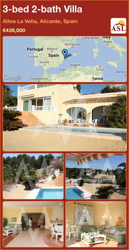 3-bed 2-bath Villa in Altea La Vella, Alicante, Spain ►€439,000 #PropertyForSaleInSpain