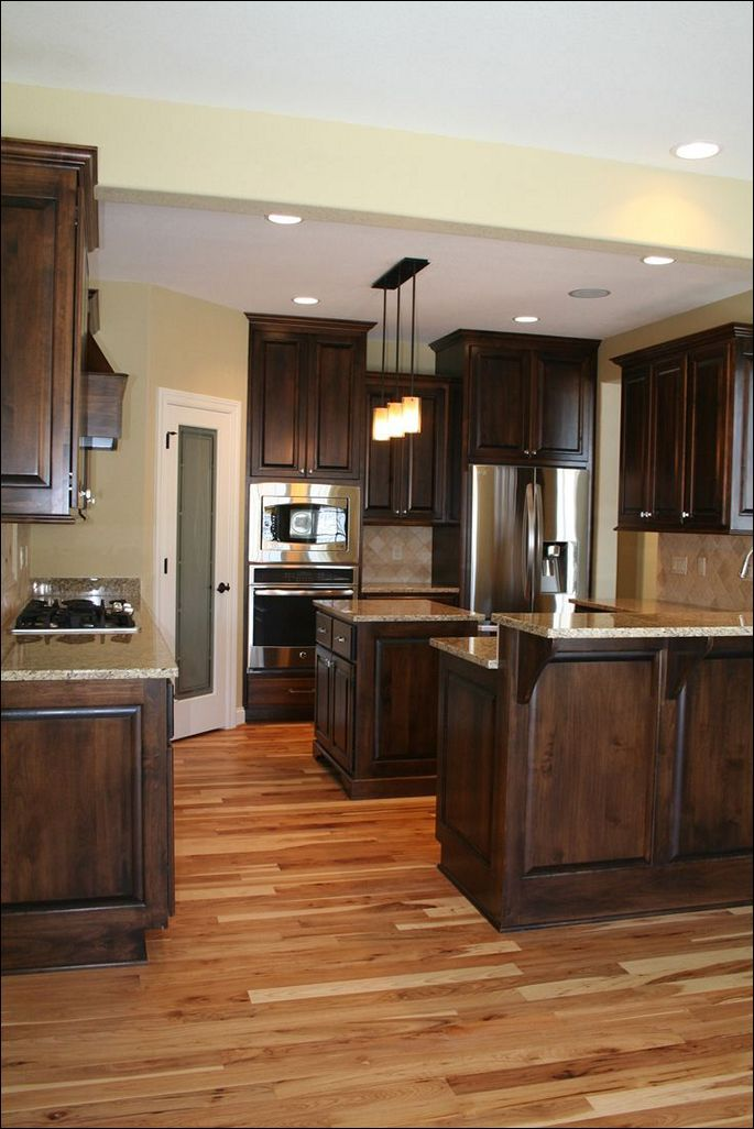 Color Ideas For Painting Kitchen Cabinets Hickory Kitchen Cabinets Oak Floor Kitchen Wood Floor Kitchen