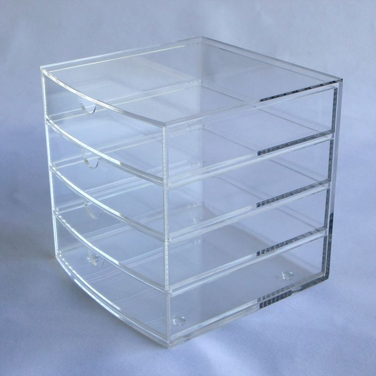 High-Quality 4-Drawer Acrylic Organiser / Storage Box. (Handcrafted of Premium Cast Acrylic, Crystal Clear - Clearance Sale!). Clear minimal design is suitable for all room styles and storage needs.   eBay!
