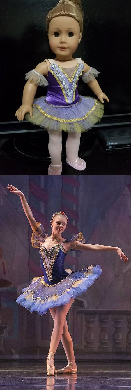 "Kari D continues her quest to recreate at American Girl doll scale all the Nutcracker ballet costumes worn by her dancer daughter and friends — using the Lee & Pearl Ballet Performance Pattern Bundle, with its collection of realistic tutus, fitted bodices, panty and basque. Here is Kari's picture-perfect interpretation of a yummy Nutcracker ""mirliton."" Get your own copy of this pattern in the Lee & Pearl Etsy store at…"
