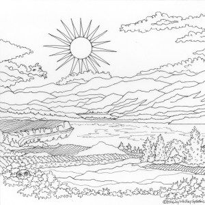 Sunrise in the Okanagan – Naramata Bench Wine Country, a colouring book designed and Illustrated by Joy Whitley Syskakis of Colour the Okanagan Illustrations Company. Request YOUR very own copy today via our website! All images and illustrations are Copyright protected!