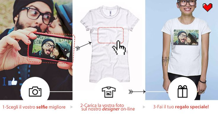 Magliette da regalare a chi ami: che c'è di più facile che stampare un vostro selfie? con Eshirt.it verrà benissimo!!