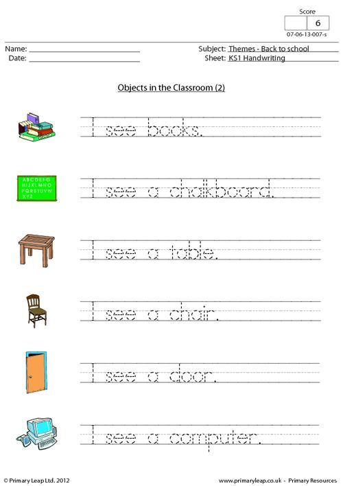 back to school objects in the classroom 2 by english printable. Black Bedroom Furniture Sets. Home Design Ideas