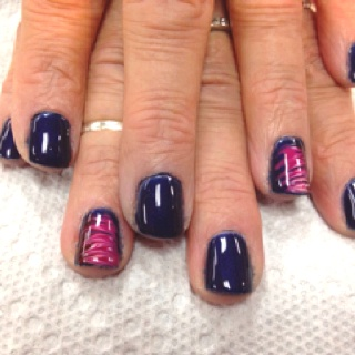 Navy with pink flamenco alpine snow and princess rule nail art
