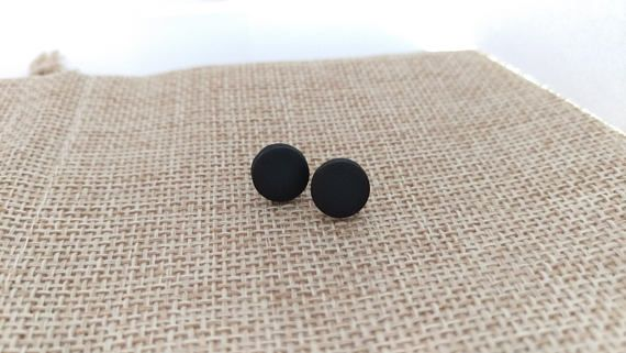 Hey, I found this really awesome Etsy listing at https://www.etsy.com/listing/539183438/round-black-matte-earrings-polymer-clay