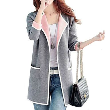 Women's Solid Pink / Red / Yellow / Gray Cardigan , Casual Long Sleeve –  ¥7,832 →¥ 4,700
