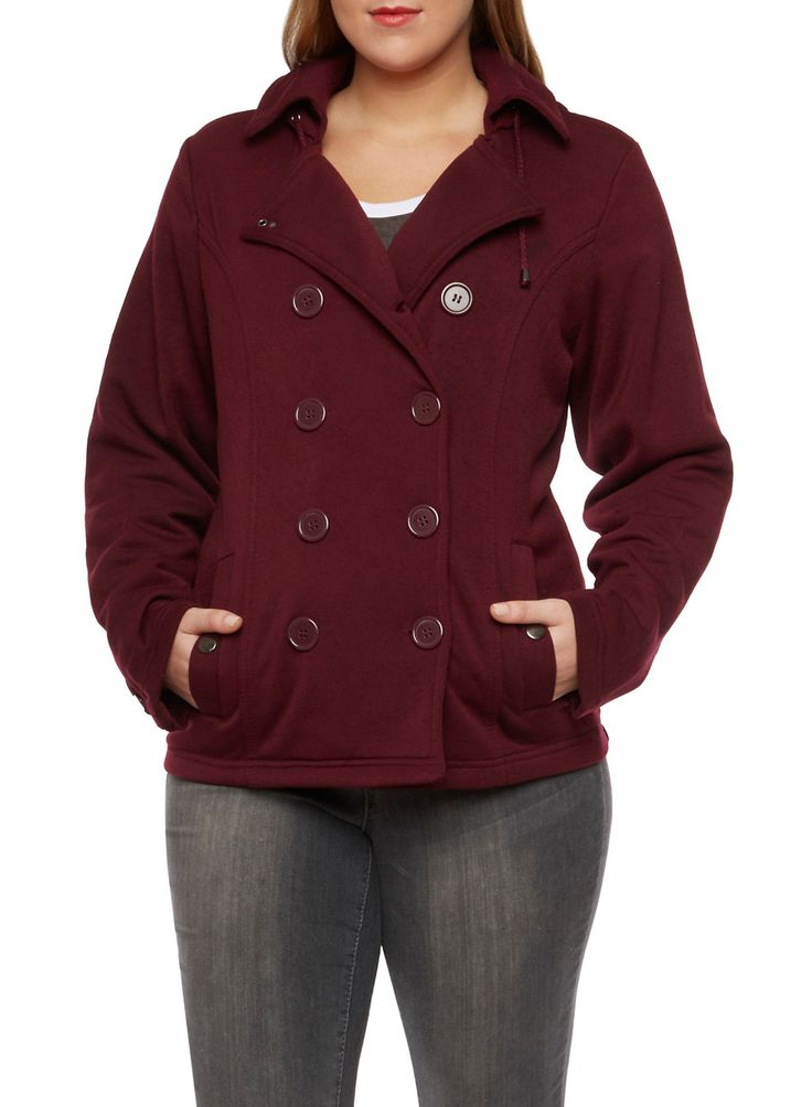 Plus Size Peacoat with Hood and Fleece Lining,BURGUNDY