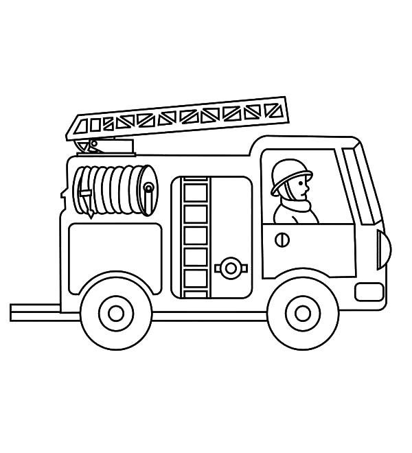 View Larger Fire Engine Coloring Page Free Printable Truck Colori