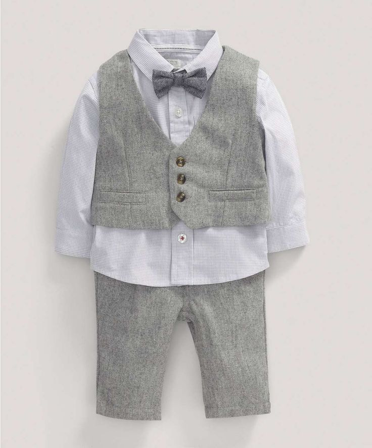 Boys Welcome to the World Four Piece Wool Waistcoat Shirt and Trouser Set - Knitwear - Mamas & Papas
