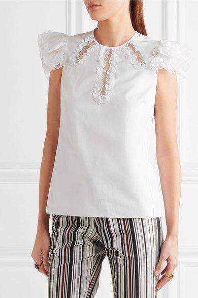 Giambattista Valli - Ruffled Silk Organza-trimmed Cotton Top - White - IT