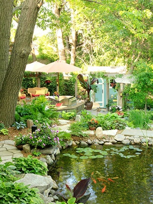 LOVE this backyard!  This guy chose to create a vacation in his backyard rather than going on long expensive vacations every year.  Cool.
