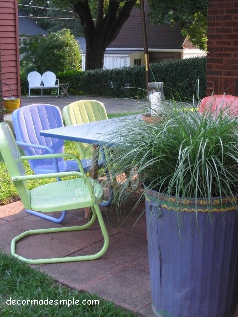 Colorful, retro chairs- I have four right now, but hoping to get more, mine are bright yellow, bright red and a green glider ~JL