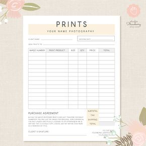 Order form template Photography order form Photography