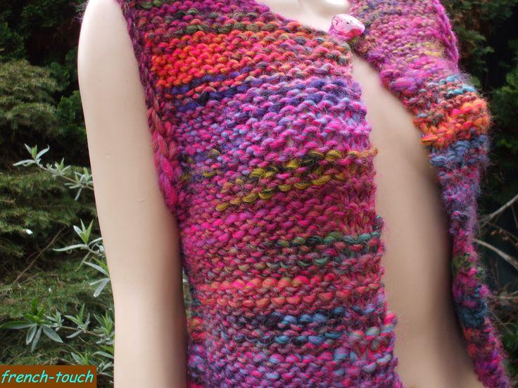 gilet cardigan manches courtes en laine multicolore tricot la main bouton en nacre rose vif. Black Bedroom Furniture Sets. Home Design Ideas