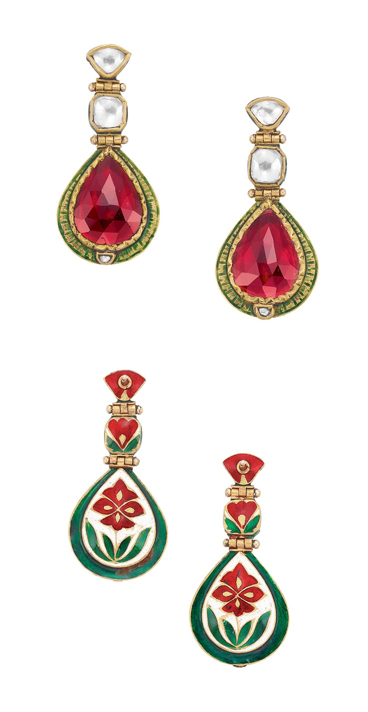 Pair of Indian High Karat Gold, Pink Tourmaline, Diamond and Enamel Pendant-Earrings Topped by 4 modified pear-shaped and cushion-shaped table-cut diamonds, suspending 2 faceted pear-shaped pink tourmalines approximately 13.00 cts., closed backs, outlined in green enamel, tipped by 2 small rose-cut diamonds, the reverse decorated with a green, white and red enamel flower motif, approximately 9.6 dwt.