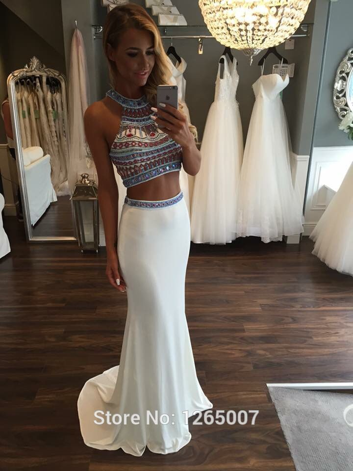 Sexy Halter Nice Beaded Diamond Rhinestones Two 2 Piece Crop Top Prom Dresses 2016 Fashion Formal Maxi Long Gowns