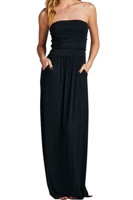 Pockets, black, maxi - say no more - make it mine - make it yours.  At $17.08 get 2!  Black Pockets Strapless Maxi Dress