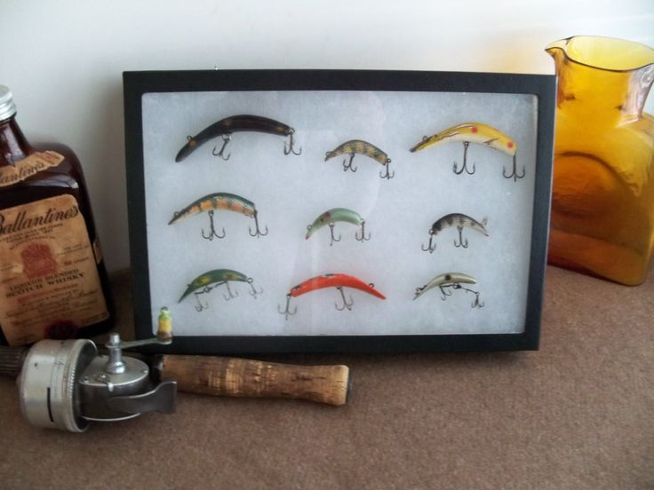 112 best images about man cave on pinterest couch for Fishing lure display