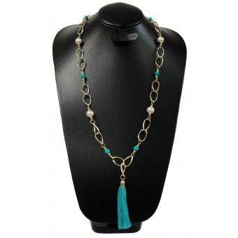 Collar de Moda con Perlas, Caucho y Cadena de Aluminio