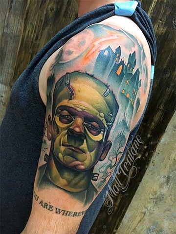 25bd916c009c6 neotraditional color tattoo matt truiano frankenstein   Tattoo ...