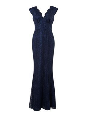 206 Ariella Long lace fishtail v neck dress Navy - House of Fraser