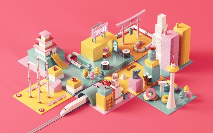 Isometric 3D image with some generic elements from japanese culture.