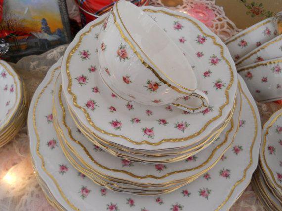 vintage haviland pink roses gold china wilton pattern. Black Bedroom Furniture Sets. Home Design Ideas