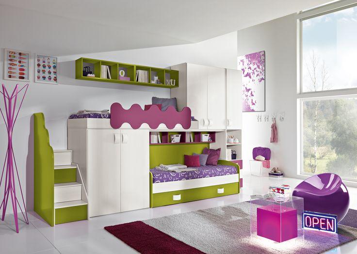 Camerette Ari soppalco con particolari prugna/verde acido http://www.zuccamobili.com/it/cameretta-joy-soppalco-con-particolari-prugnaverde-acido