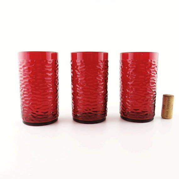 Famous Pizza Hut Restaurant Red Plastic Tumblers Set Of 3