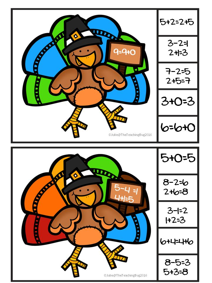 Thanksgiving Properties of Addition task cards-Identity, Inverse, and Commutative