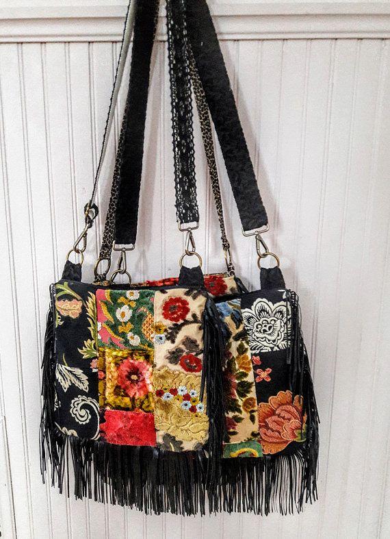 Floral patchwork velvet boho bag with fringe