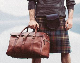 Men's Leather Duffle Bag Classic Travel Holdall Cabin