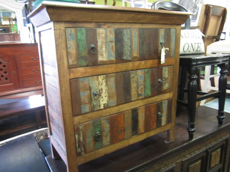 Rustic, reclaimed wood, 3-drawer dresser. Imported from India. 36W 16D