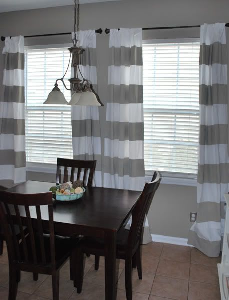 Wall color/ curtains. I still need to figure out what color curtains to do in... well ALL of the rooms in our new house.: Dining Rooms, Wall Colors, Paintings Curtains, Kitchens Curtains, Paintings Colors, Colors Schemes, Stripes Curtains, Diy Curtains, Drop Clothing