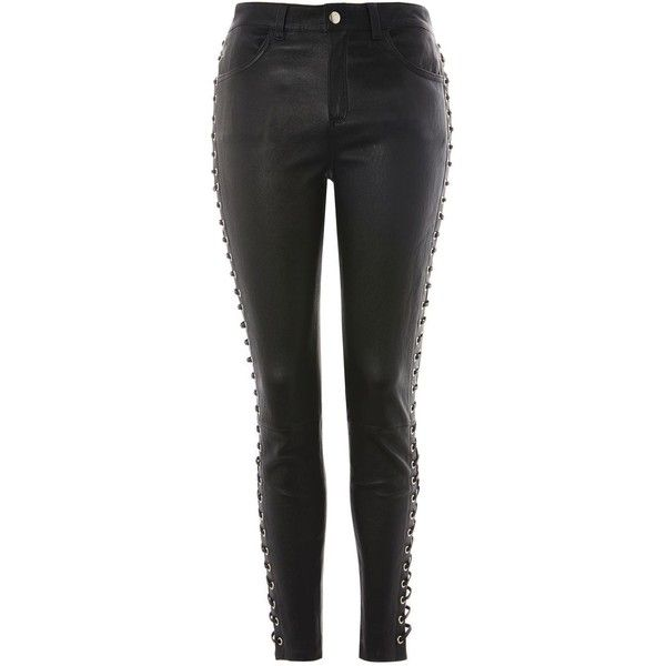 Topshop Premium Leather Side Lace Up Trousers (£275) via Polyvore featuring pants, black, topshop, trousers, skinny pants, topshop trousers, genuine leather pants, skinny trousers and skinny leg pants