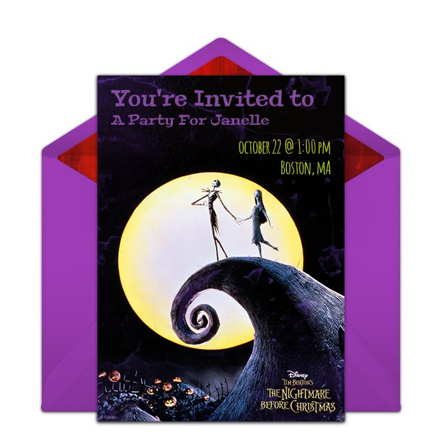 Customizable, free The Nightmare Before Christmas online invitations. Easy to personalize and send for a Disney Halloween party. #punchbowl