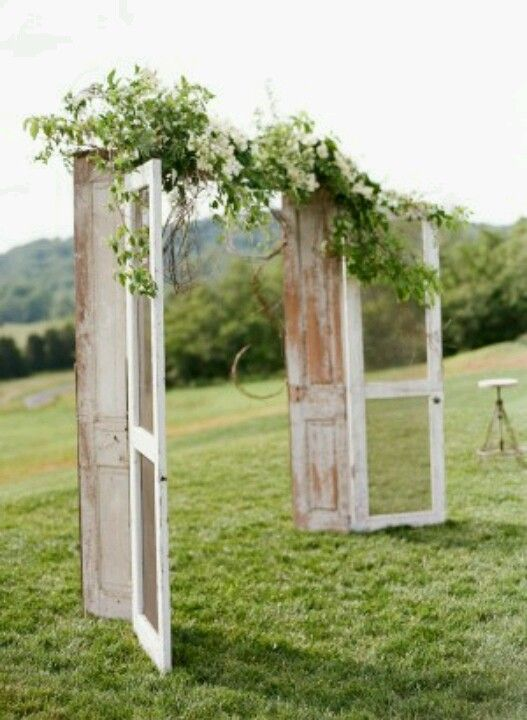 Vintage door and garland wedding alter- NH New Hampshire wedding altar wooden doors, perfect for a farm or field