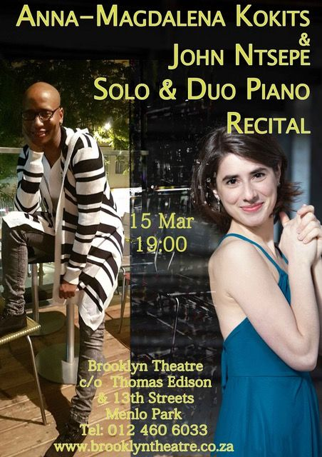 South African pianist John Ntsepe, currently resident in Austria returns to SA with a piano recital in tandem with Viennese pianist - Ann-Magdalena Kokits. These fine artists offer an enjoyable programme for solo and 4 hand piano works. Wednesday 15 March 19:00 www.brooklyntheatre.co.za
