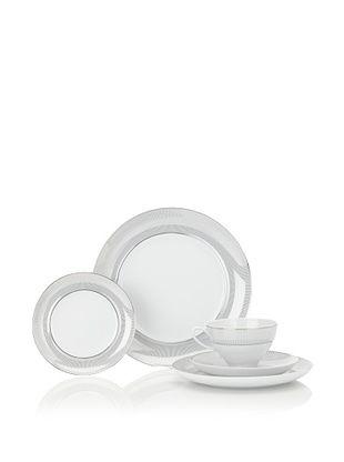 Mikasa 5-Piece Platinum Shimmer Place Setting, White/Platinum